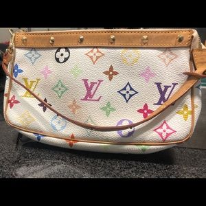 Louis Vuitton white monogram multicolor purse.